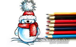 Рисунок веселых снеговиков для оформления лагеря. Рисуем снеговика