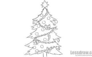 Нарядная елка рисунок. Как нарисовать новогоднюю елку карандашом поэтапно